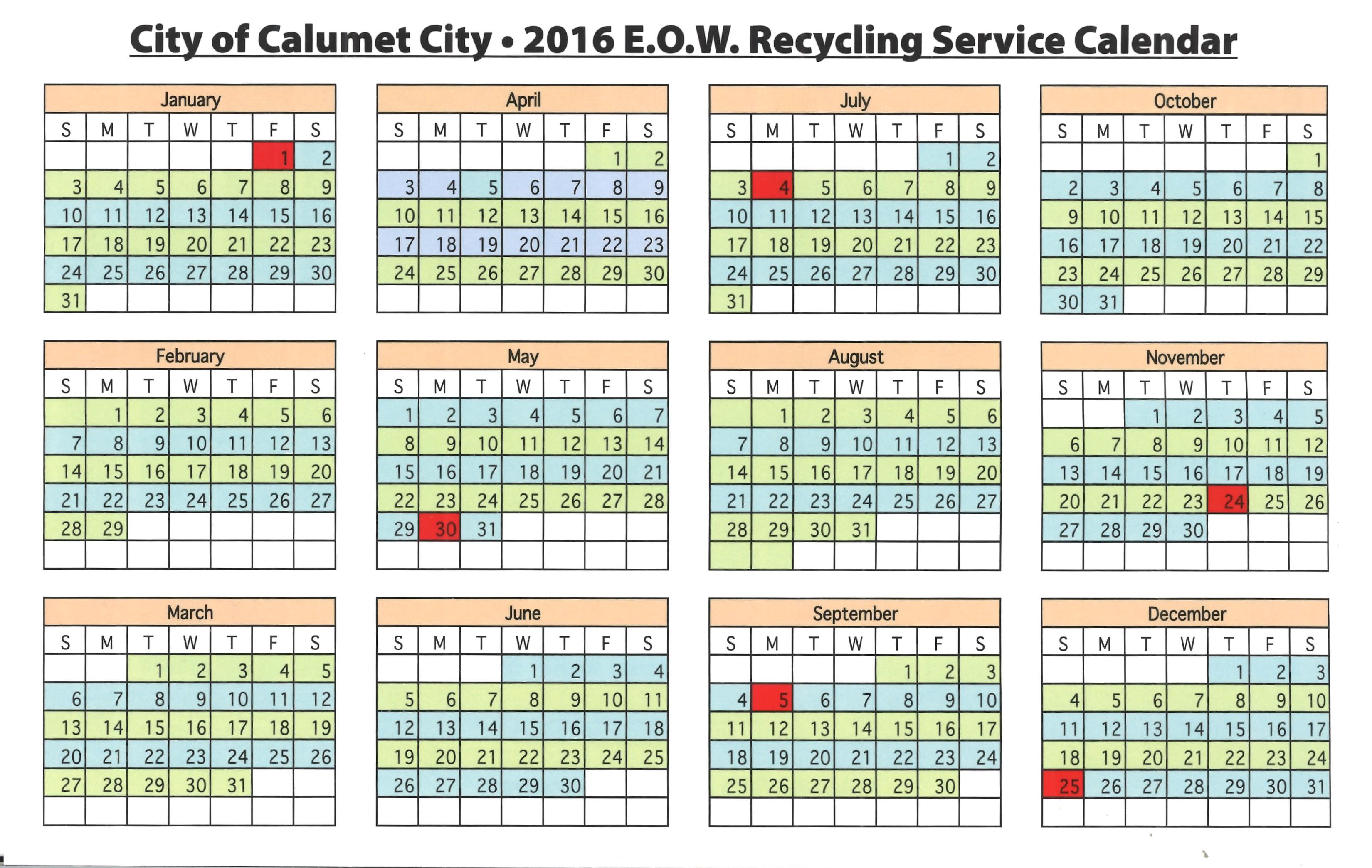 Recycling Servie Calendar